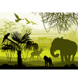 nature with wild animals elephant monkey antelope vector image vector image