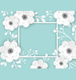 Paper cut flowers frame greeting card template