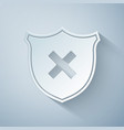 paper cut shield and cross x mark icon isolated on vector image vector image