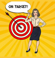 pop art business woman achieved the target vector image vector image