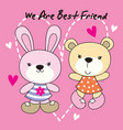 rabbit and bear are best friend vector image