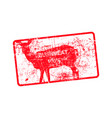 red grunge dirty rubber stamp with a deer vector image