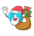 santa with gift number zero isolated on the mascot vector image vector image