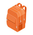 school backpack orange backpack for vector image