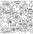 Seamless pattern of Easter symbols line art vector image