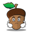 serious acorn cartoon character style vector image vector image