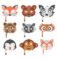 set of cartoon animals party masks holiday vector image vector image