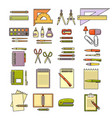 set of flat design cute colorful stationery vector image vector image