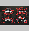 set sport logo emblem on a dark background vector image vector image