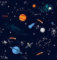 space seamless pattern with planets and stars vector image