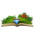 story book with river and a wooden house in a beau vector image