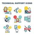 technical support icons faq and online help call vector image