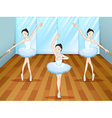 Three ballet dancers dancing inside the studio vector image vector image