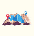 travel concept router in a map cartoon vector image vector image