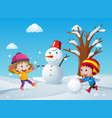 two children making snowman in the field vector image
