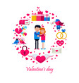 valentine s day icons in circle vector image vector image