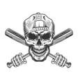 vintage bandit skull in hipster cap vector image vector image