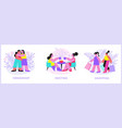 woman friends flat compositions vector image vector image