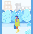 woman walking in park winter urban landscape vector image vector image
