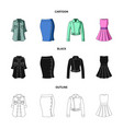 women clothing cartoonblackoutline icons in set vector image vector image