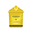 Yellow metal mailbox for letters and newspapers