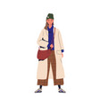 young stylish woman demonstrating trendy outwear vector image vector image