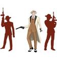 Caucasian mafioso godfather with crew silhouettes