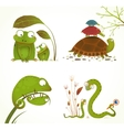 Cartoon Reptile Animals Parent with Baby vector image