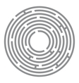 Abstract futuristic maze gray circles on white vector image