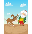 Old Man and Donkey vector image