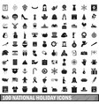 100 national holiday icons set simple style vector image vector image