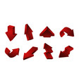 3d red arrows collection up down recycling vector image