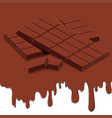 a chocolate bar melting background vector image