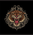 angry tiger head logo with ornament swirl vector image vector image