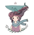 Beautiful young girl sailor with a whale in her vector image vector image