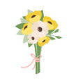 bouquet of white and yellow flowers tied together vector image vector image