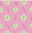 chamomile seamless pattern pink background vector image vector image