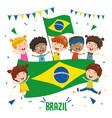 children holding brazil flag vector image vector image