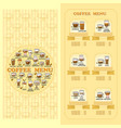 coffee menu card set of cute various coffee icon vector image vector image