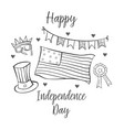 collection style greeting card indpendence day vector image vector image