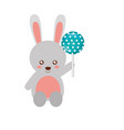 cute rabbit cartoon with lollipop vector image
