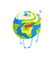 cute sleeping cartoon earth planet character vector image vector image