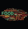 fiji food text background word cloud concept vector image vector image