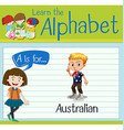 Flashcard letter A is for Australian vector image vector image