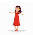 girl in a red dress is laughing cartoon character vector image vector image