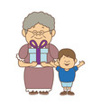 grandma and her grandson standing happy with gift vector image vector image