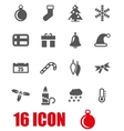 grey christmas icon set vector image vector image