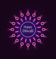 happy diwali banner in bright neon style vector image vector image