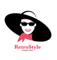 icon or avatar smiling woman with hat vector image vector image