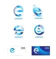 Letter e logo icon set vector image vector image